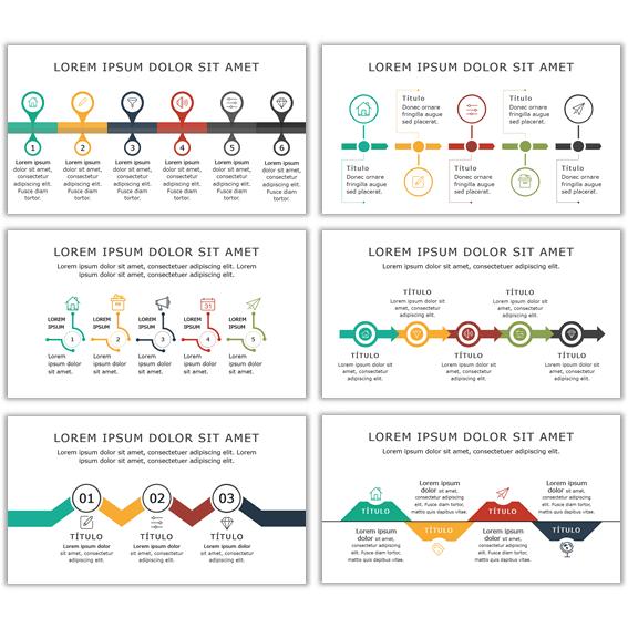 Diagramas power point de flujos o timeline