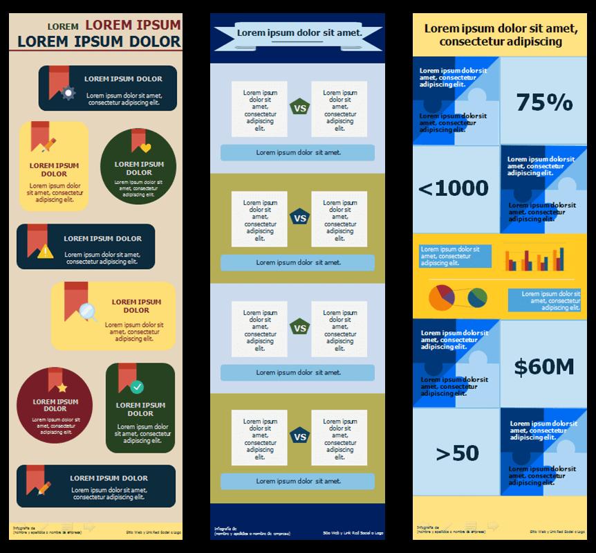 Ejemplos de Plantillas de Infografías para conceptos y datos