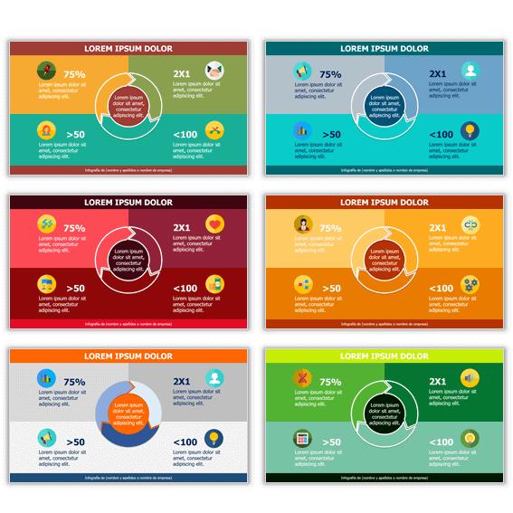 Ejemplos de plantillas de infografías con combinaciones de colores