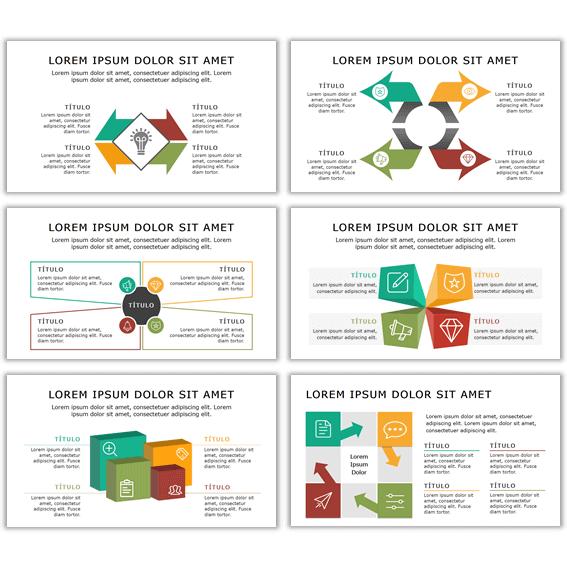 Plantillas Powerpoint con Matrices de diagramas para infografías y presentaciones