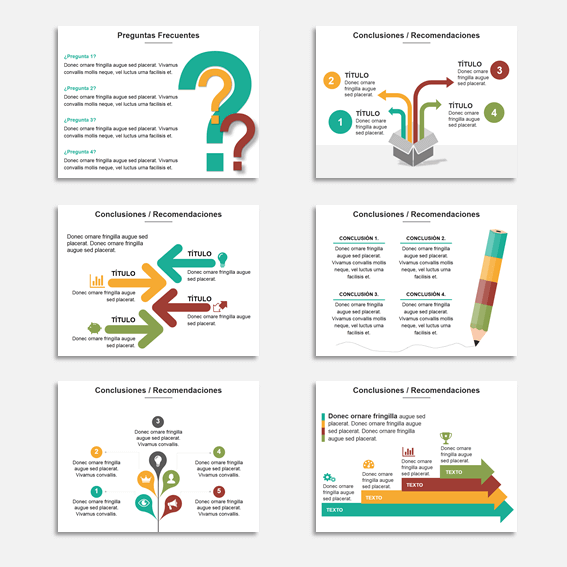 Presentaciones de negocios con estilo infográfico para cerrar una presentación